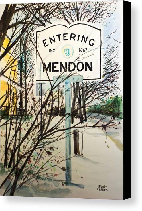 Mendon Ma Canvas Print featuring the painting Snow Day by Scott Nelson