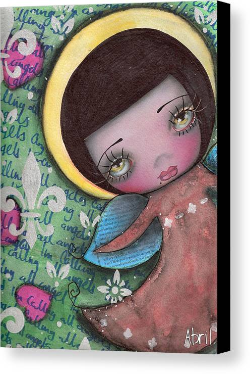 Angel Canvas Print featuring the painting Angel Girl by Abril Andrade Griffith