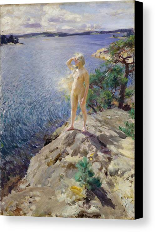 Anders Zorn Canvas Print featuring the painting In The Skerries by Anders Zorn