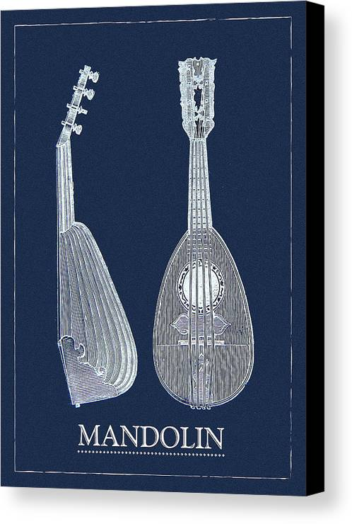 Mandolin Canvas Art Print Canvas Print featuring the digital art Mandolin Blue Musical Instrument by Sandra McGinley