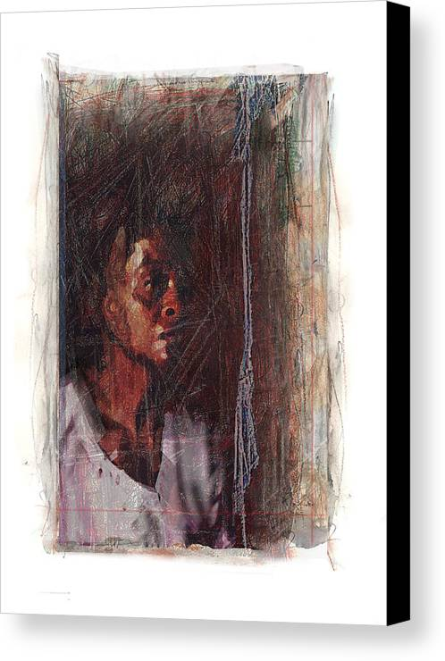 Portrait Canvas Print featuring the digital art Mrs. Henner by Nuff