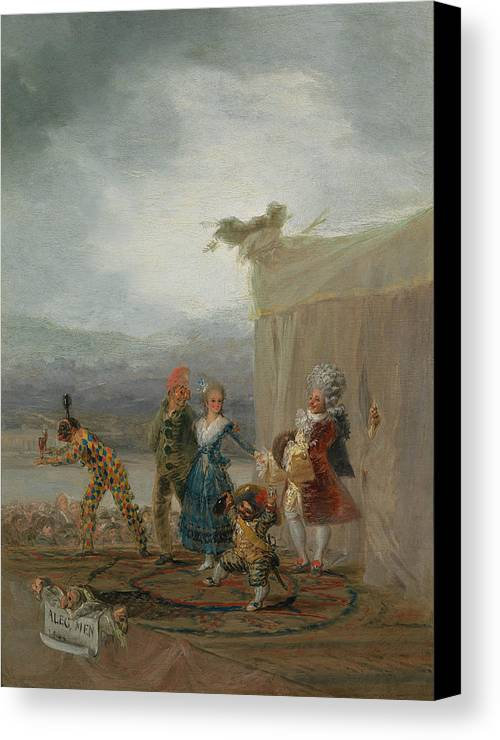Europe Canvas Print featuring the painting Strolling Players by Francisco Goya