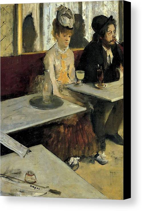 Bar Canvas Print featuring the painting The Absinthe by Edgar Degas