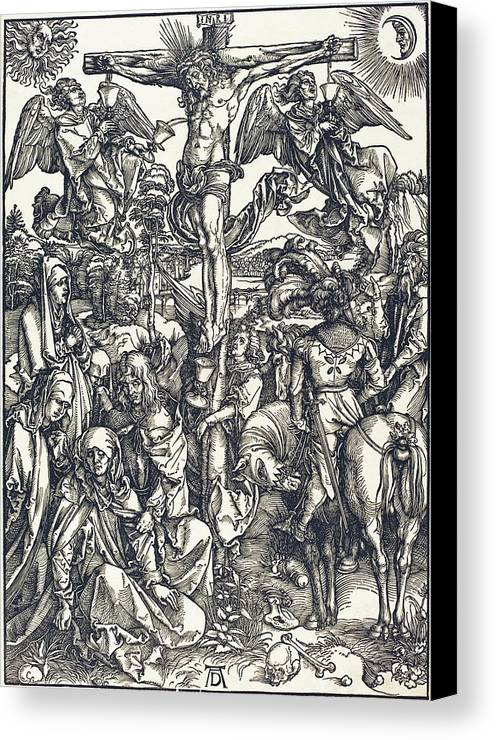 Durer Canvas Print featuring the drawing The Crucifixion by Albrecht Durer