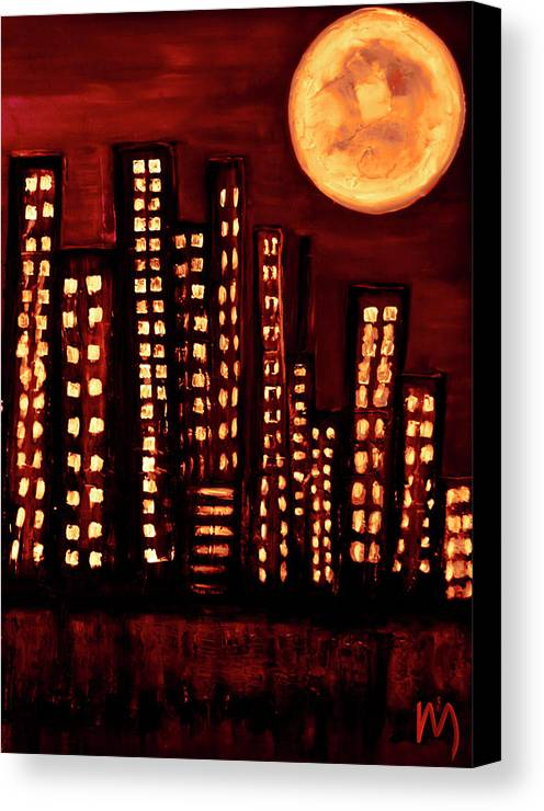 Wild Canvas Print featuring the painting Wild L.a Moon by Rolly Mouchaty