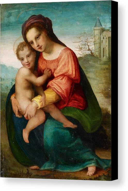 Florentine School Canvas Print featuring the painting The Virgin And Child by MotionAge Designs