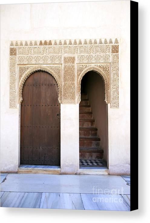Alhambra Canvas Print featuring the photograph Alhambra Door And Stairs by Jane Rix