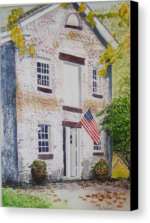 Old Buildings Canvas Print featuring the painting Allaire Carpenter Shop by Ally Benbrook