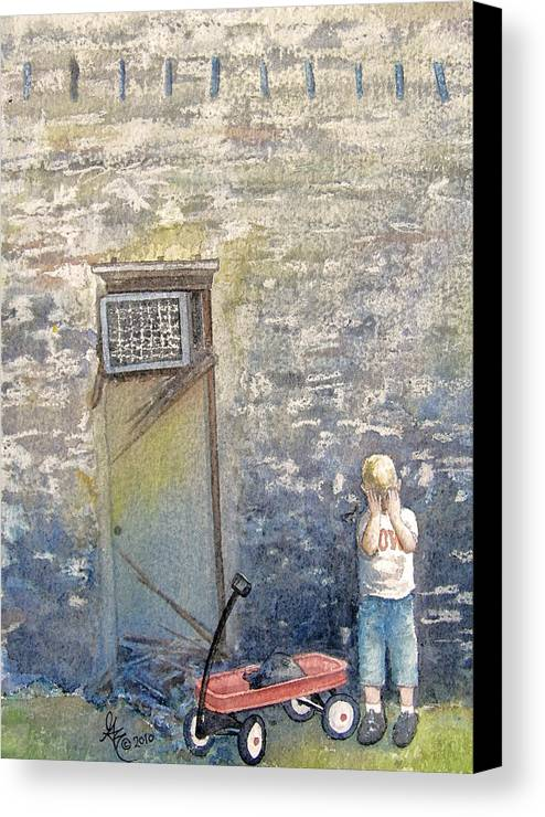 Child Canvas Print featuring the painting Alone by Gale Cochran-Smith