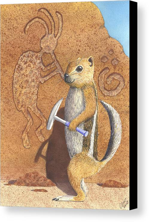 Kokopeli Canvas Print featuring the painting And You Thought It Was The Anasazi by Catherine G McElroy