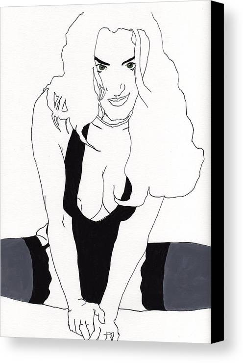 Portrait Canvas Print featuring the drawing Anna-black Stockings by Stephen Panoushek