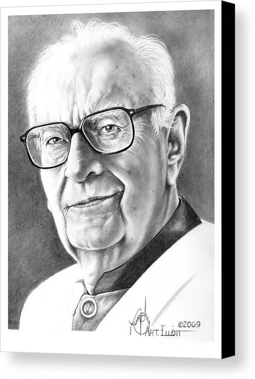 Portrait Canvas Print featuring the drawing Arthur C. Clarke by Murphy Elliott
