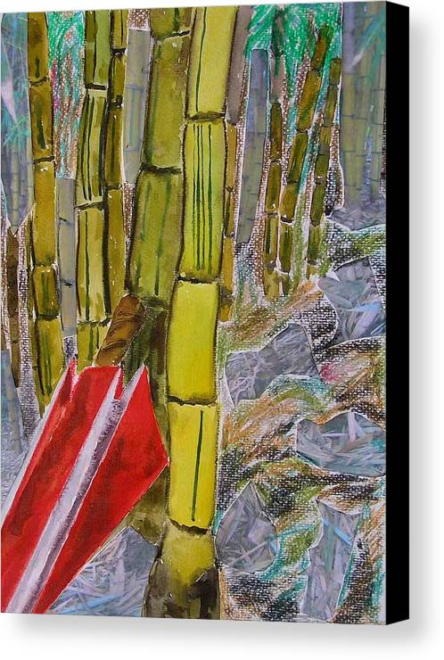 Canvas Print featuring the painting Bamboo Forest by Evguenia Men