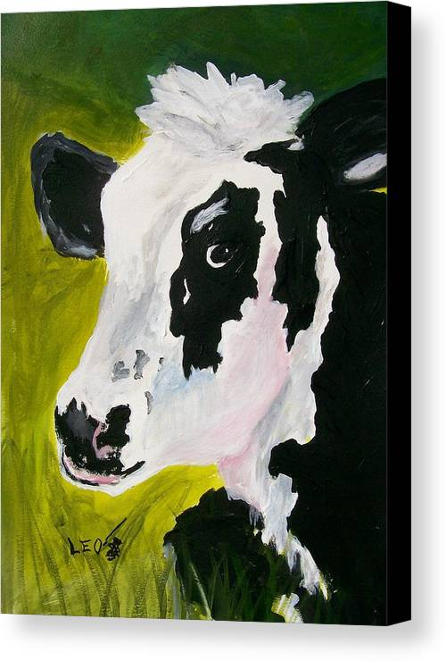 Cows Canvas Print featuring the painting Bessy The Cow by Leo Gordon