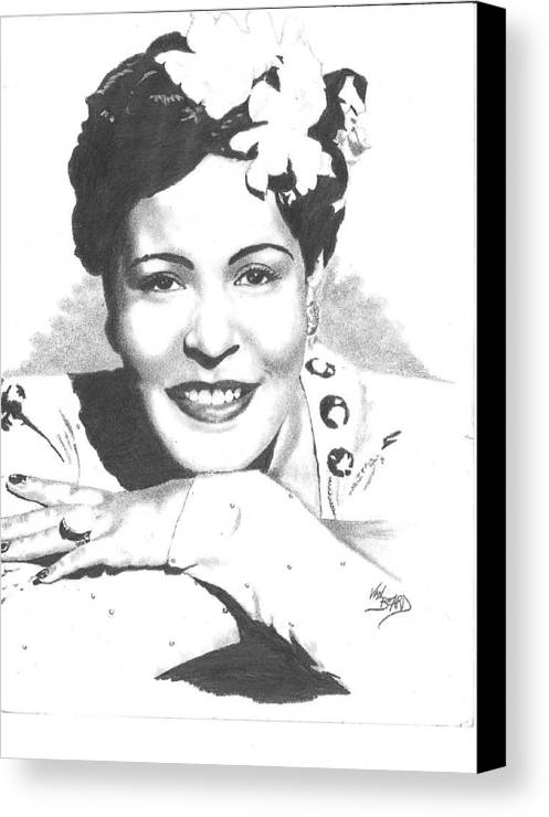 Drawing Canvas Print featuring the drawing Billie Holiday by Van Beard