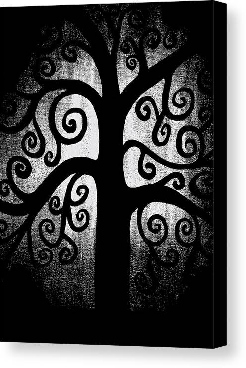 Black And White Canvas Print featuring the painting Black And White Tree by Angelina Vick