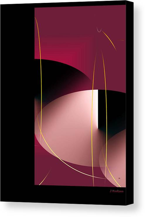 Abstract Digital Art Canvas Print featuring the digital art Black Vs White Vs Red by John Krakora