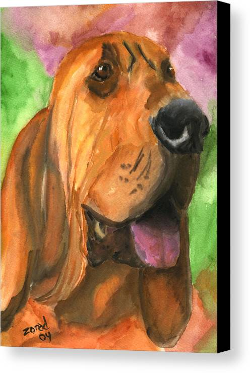 Dog Art Canvas Print featuring the painting Bloodhound Dog Art by Mary Jo Zorad