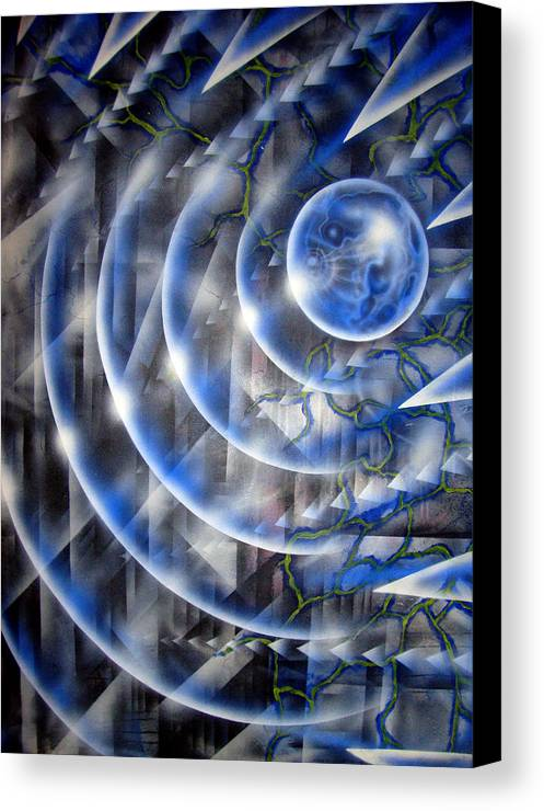 Paint Canvas Print featuring the painting Blue Moon Falling by Leigh Odom