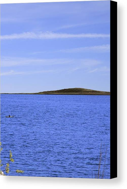 Blue Canvas Print featuring the photograph Blue Sky Blue Water And Earth Divider by Viktor Savchenko