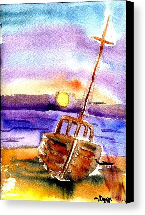 Boat Canvas Print featuring the painting Boat Ashore by Janet Doggett