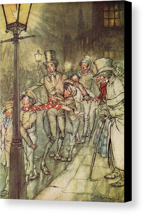 Bob Cratchit Canvas Print featuring the drawing Bob Cratchit Went Down A Slide On Cornhill by Arthur Rackham