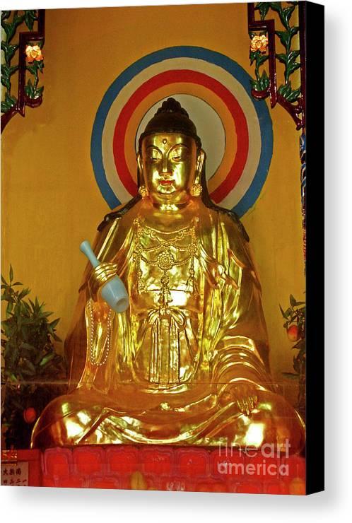 Emei Canvas Print featuring the photograph Brass Buddha Emei by Roberta Bragan