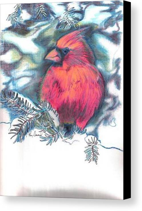 Birds Cardinals Nature Wildlife Pets Canvas Print featuring the drawing Cardinal 2 by Raymond Doward