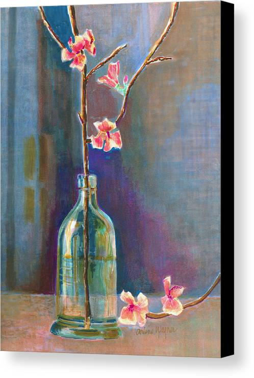 Flower Canvas Print featuring the painting Cherry Blossoms In A Bottle by Arline Wagner