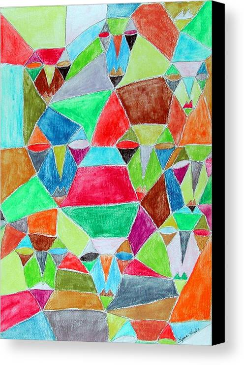 Abstract Canvas Print featuring the painting Circle Of Friends by Margie Byrne
