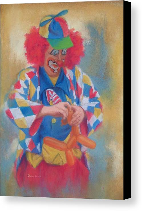 Clown Canvas Print featuring the painting Clown Making Balloon Animals by Diane Caudle