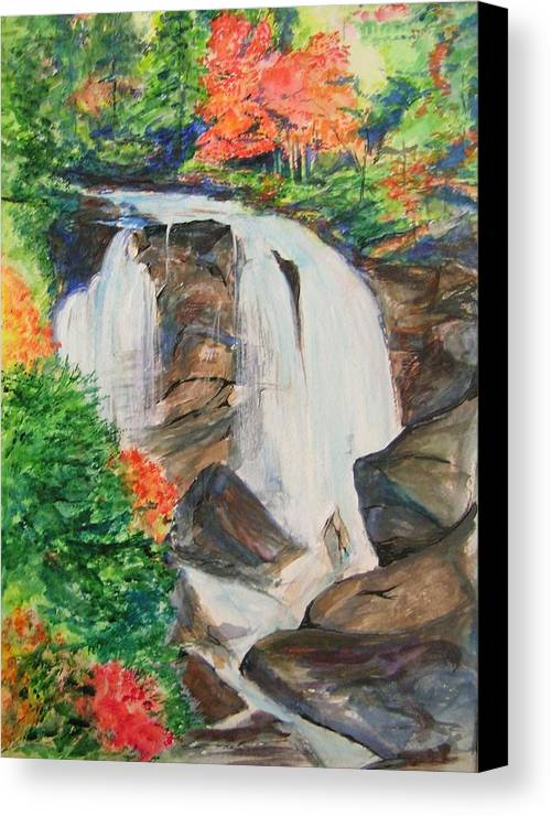 Creek Canvas Print featuring the painting Creek In Autumn by Lizzy Forrester