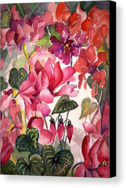 Cyclamen Canvas Print featuring the painting Cyclamen by Mindy Newman