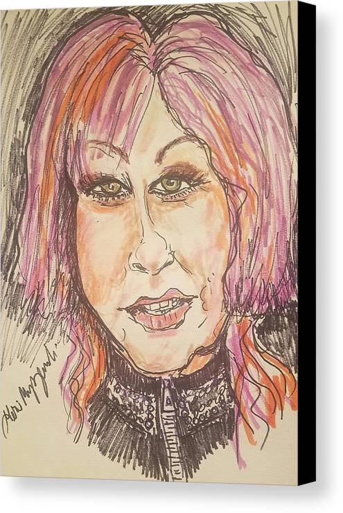 Cyndi Lauper Canvas Print featuring the drawing Cyndi Lauper by Geraldine Myszenski