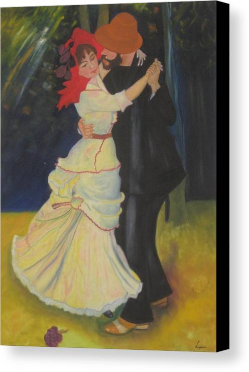 Figure Painting Canvas Print featuring the painting Dance At Bougival by AVK Arts