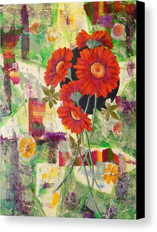 Abstract Canvas Print featuring the painting Dancing With The Daisies II by Terry Honstead