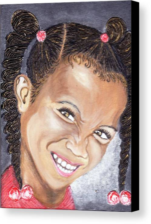 Smile Canvas Print featuring the painting Devilish Grin by Keenya Woods