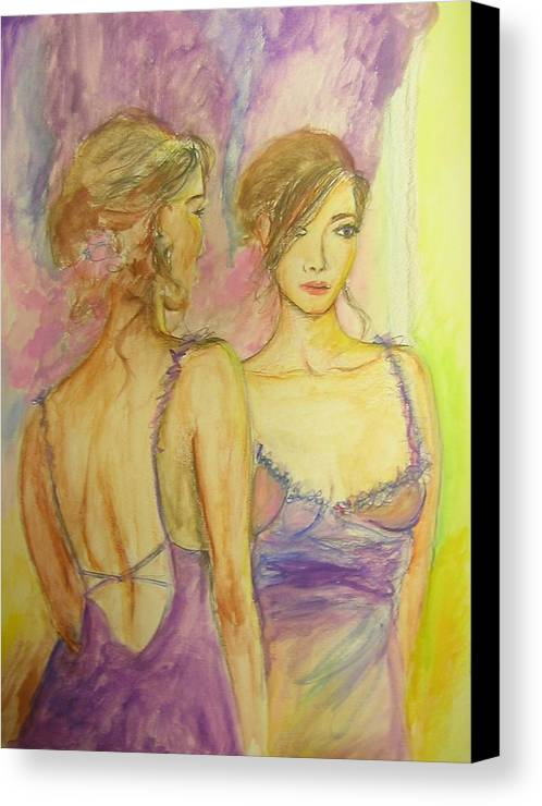 Feminine Canvas Print featuring the painting Distracted by Lizzy Forrester