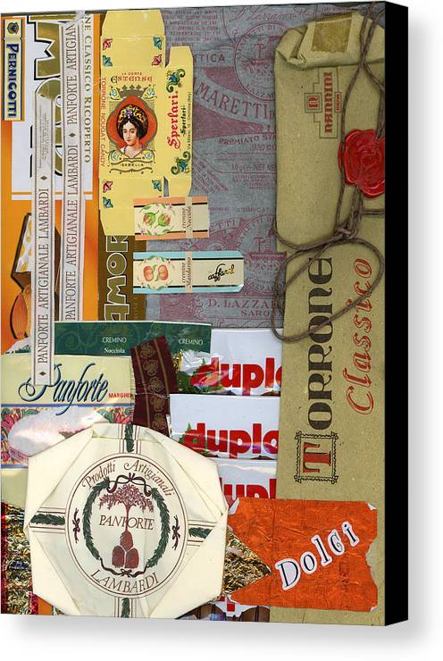 Collage Print Canvas Print featuring the mixed media Dolci by Nancy Ferrier