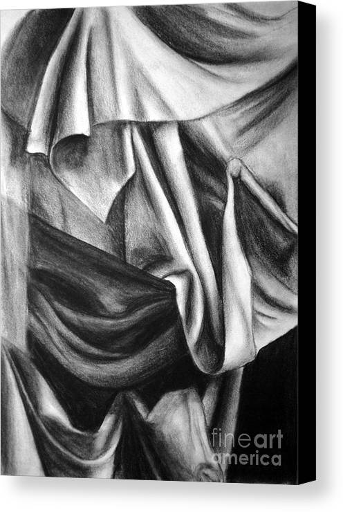 Charcoal Canvas Print featuring the drawing Drapery Still Life by Nancy Mueller