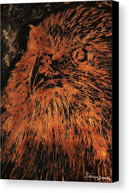Sheila Sauvageau Canvas Print featuring the painting Eagle Metallic Copper by Sheila Sauvageau