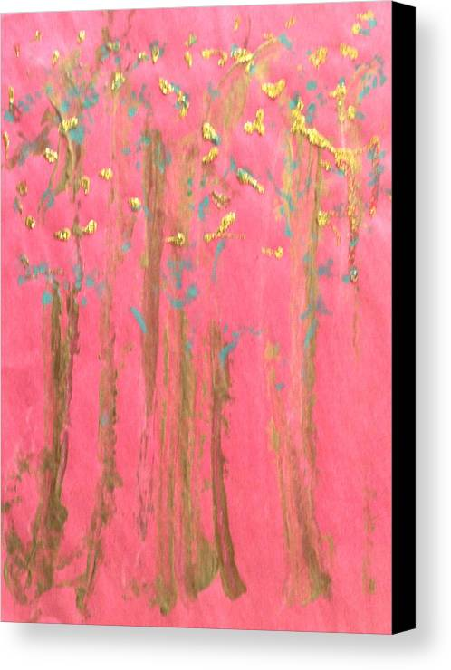 Abstract Canvas Print featuring the painting Enchanted Forest - Abstraction by Michela Akers