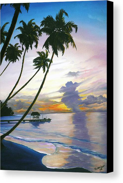 Ocean Painting Seascape Painting Beach Painting Sunset Painting Tropical Painting Tropical Painting Palm Tree Painting Tobago Painting Caribbean Painting Original Oil Of The Sun Setting Over Pigeon Point Tobago Canvas Print featuring the painting Eventide Tobago by Karin Dawn Kelshall- Best