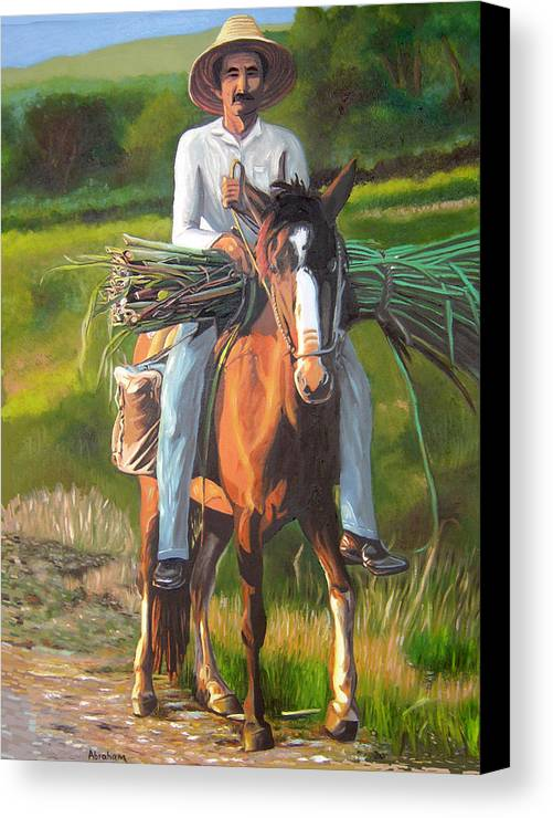 Cuban Art Canvas Print featuring the painting Farmer On A Horse by Jose Manuel Abraham