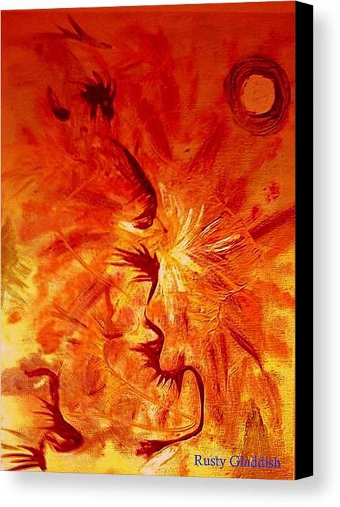 Abstract Canvas Print featuring the painting Firebrand by Rusty Gladdish