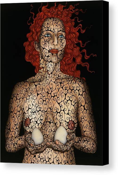 Figurative Canvas Print featuring the painting Frau Mit Eiern by Tina Blondell
