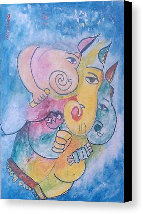 Painting Canvas Print featuring the painting Ganesha by Rooma Mehra