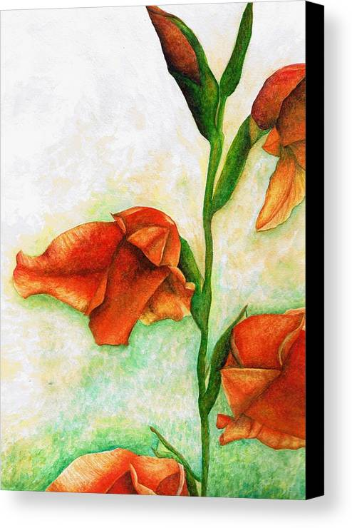 Flower Canvas Print featuring the painting Gladiolas by Brandon Sharp