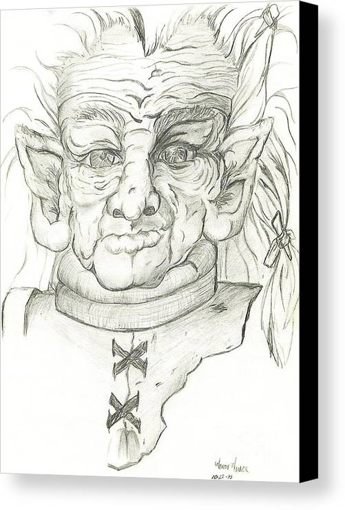 Gnome Canvas Print featuring the drawing Gnarlsworth Gnome - Black And White by Wendy Middleton