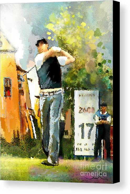 Golf Canvas Print featuring the painting Golf In Club Fontana Austria 01 Dyptic Part 01 by Miki De Goodaboom